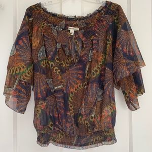 Andrew Charles Peacock Off Shoulder Blouse Size M